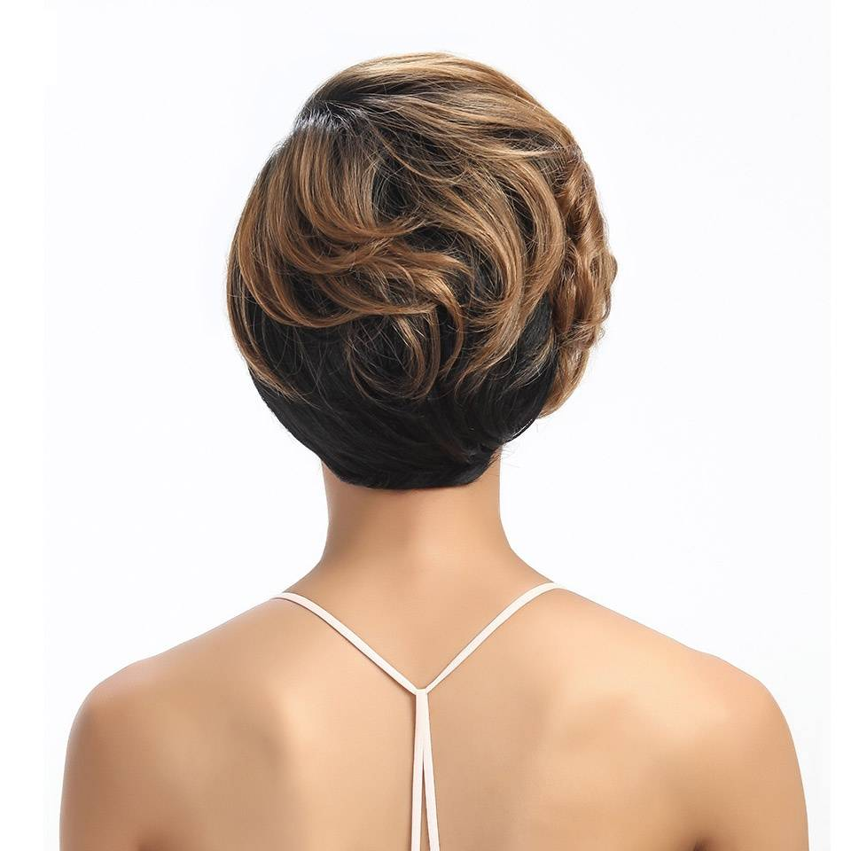 Ombre Short Wavy Non-Lace Synthetic Hair Wig