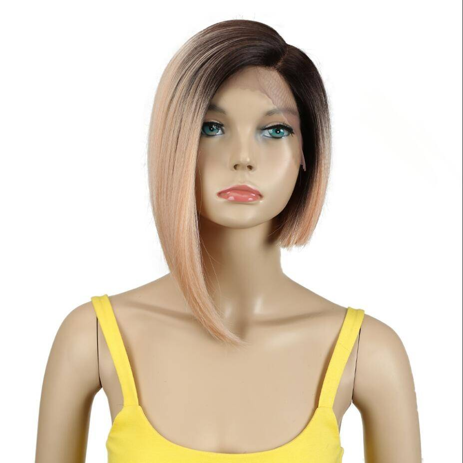 Asymmetric Ombre Short Straight Synthetic Hair Wig