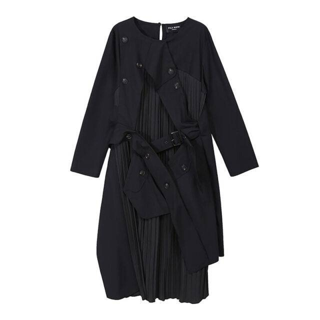 VeryYu 2020 Autumn Winter Long Sleeve Black Patchwork Pleated Dress Fashion  VeryYu the Best Online Store for Women Beauty and Wellness Products