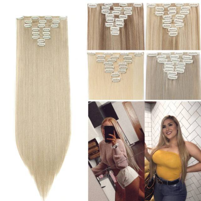 VeryYu 26inch 8pcs/set clip Synthetic Colorful Hair Extension Hair Care Hair Extensions & Wigs  VerYYu