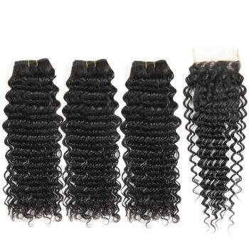 VeryYu 3 Bundles Closure Deep Wave Remy Hair Hair Care Hair Extensions & Wigs  VerYYu