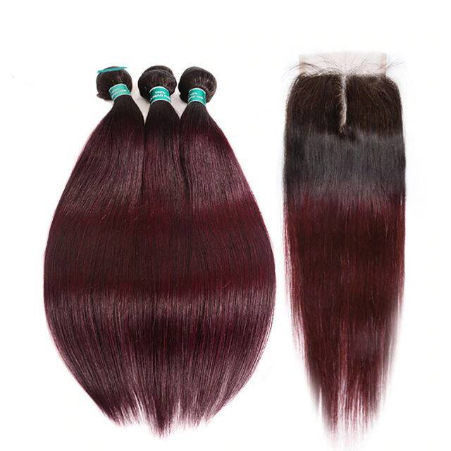 VeryYu Brazilian Straight Remy Hair 4*4 3 Bundles Lace Closure Hair Care Hair Extensions & Wigs  VerYYu