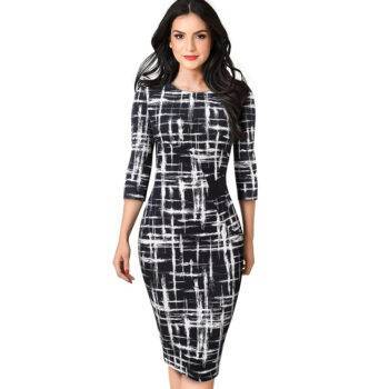 VeryYu Printed Patchwork Bodycon Dress Dresses Fashion  VerYYu